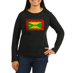 Grenada Grenadian Flag Womens Sleeved Brown Shirt