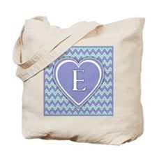 Letter E Pale Violet and Green Chevron Totebag