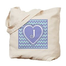 Letter J Pale Violet and Green Chevron Totebag