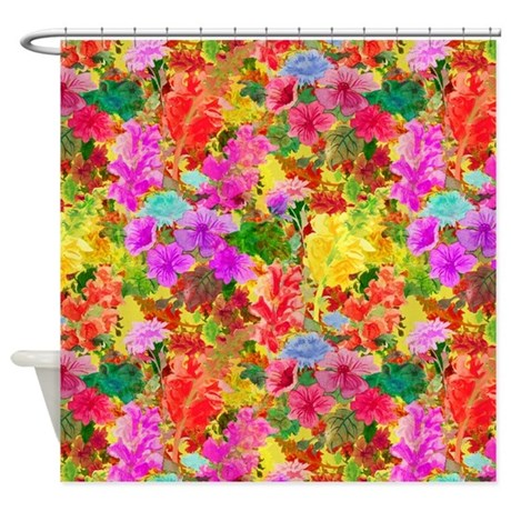 Colorful floral pattern shower curtain by graphicallusions Colorful shower curtains