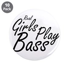 """real girls play bass black 3.5"""" Button (10 pack)"""