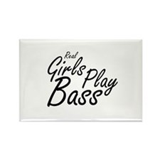 real girls play bass black Magnets