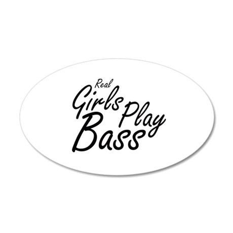 real girls play bass black Wall Decal