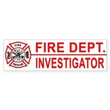 Fire Department Investigator Bumper Bumper Sticker