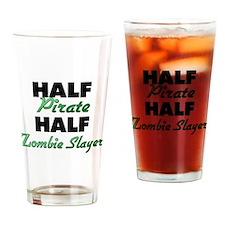 Half Pirate Half Zombie Slayer Drinking Glass