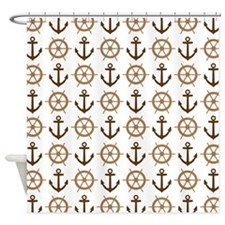 Anchor and Ships Wheel Ocean Pattern Shower Curtai