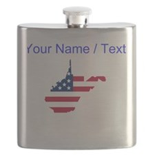 Custom West Virginia American Flag Flask