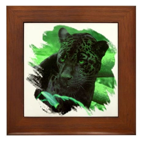 Black Jaguar Framed Tile