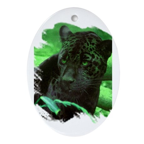 Black Jaguar Oval Ornament