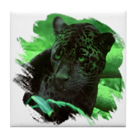 Black Jaguar Tile Coaster