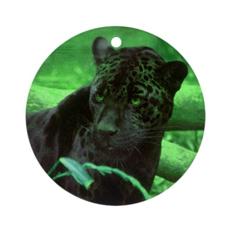Black Jaguar Ornament (Round)