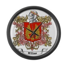 Williams Family Crest 3 Large Wall Clock