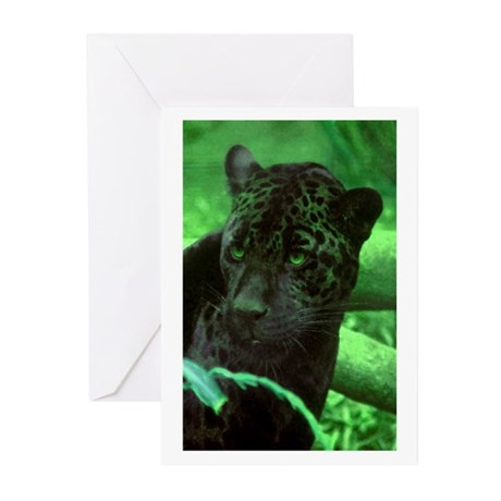 Black Jaguar Greeting Cards (Pk of 10)