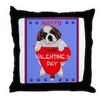 Valentine Saint Bernard Throw Pillow
