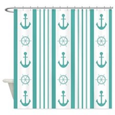 Stylish Anchor and Wheel Design Shower Curtain