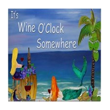 Wine OClock Mermaid Tile Coaster