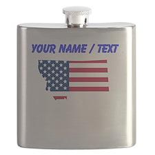 Custom Montana American Flag Flask