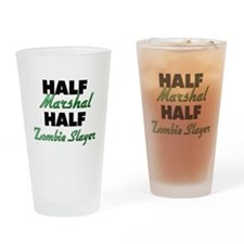 Half Marshal Half Zombie Slayer Drinking Glass
