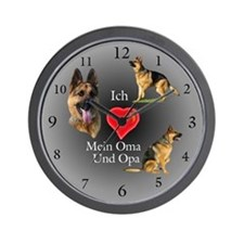 Ich (heart) Oma Und Opa German Shepherd Wallclock
