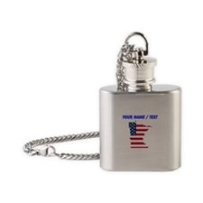 Custom Minnesota American Flag Flask Necklace