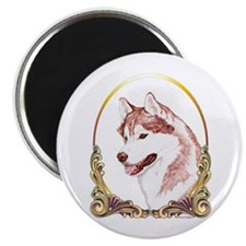 "Red Husky Christmas/Holiday 2.25"" Magnet (10 pack)"