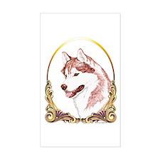 Red Husky Christmas/Holiday Rectangle Decal