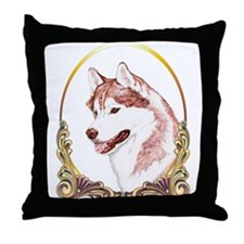 Red Husky Christmas/Holiday Throw Pillow