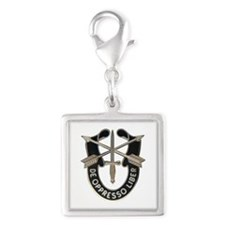 Special Forces Silver Square Charm