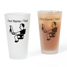 Custom Man On Computer Drinking Glass