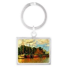 Monet - Boats at Zaandam Landscape Keychain