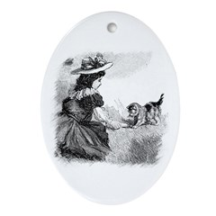 Girl and Kitten Oval Ornament