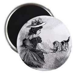 "Girl and Kitten 2.25"" Magnet (10 pack)"
