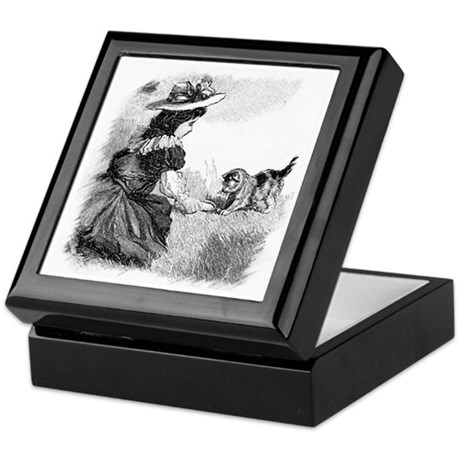 Girl and Kitten Keepsake Box