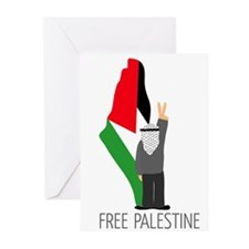 Free Palestine with map of pa Greeting Cards (Pack