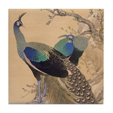 A Pair of Peacocks by Imao Keinen Tile Coaster