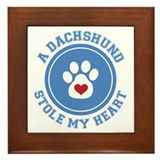 Dachshund/My Heart Framed Tile