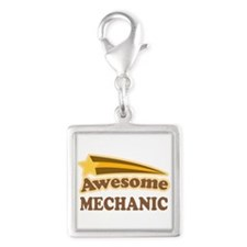 Awesome Mechanic Silver Square Charm