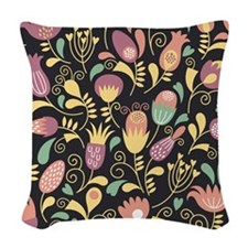Floral Woven Throw Pillow