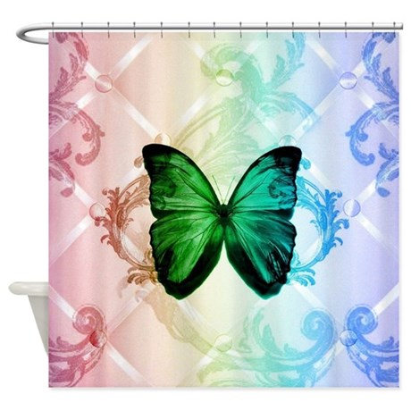 damask butterfly vintage shower curtain by admin cp62325139