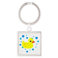 Cute Yellow Rubber Ducky on Water Heart Keychains