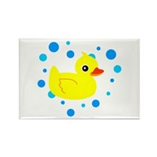Cute Yellow Rubber Ducky on Water Heart Magnets