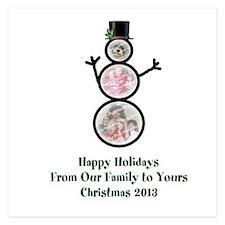 Custom Photo Snowman Christmas Card Invitations