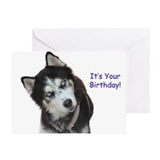 Siberian Husky Birthday Greeting Cards