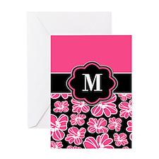 Pink Black Floral Monogram Greeting Cards