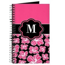 Pink Black Floral Monogram Journal