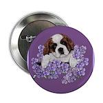 St. Bernard Puppy with flower Button