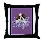 St. Bernard Puppy with flower Throw Pillow