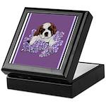 St. Bernard Puppy with flower Keepsake Box