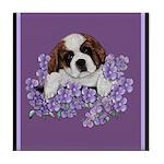 St. Bernard Puppy with flower Tile Coaster