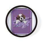 St. Bernard Puppy with flower Wall Clock